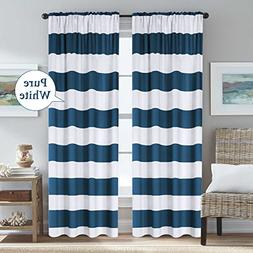 H.VERSAILTEX Striped Curtains Rod Pocket Thermal Insulated N