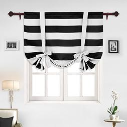 Deconovo Striped Blackout Curtains Rod Pocket Black and Whit