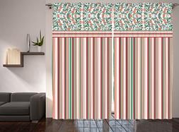 Striped Curtains Floral Leaves Colorful Stripes for Bedroom