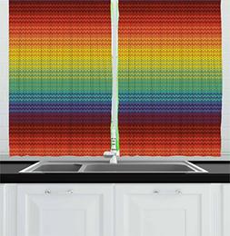 Lunarable Striped Kitchen Curtains, Mexican Knitting Pattern