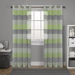 DEZENE Striped Sheer Curtains for Living Room - 2 Panels - L