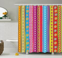 Ambesonne Striped Shower Curtain, Colorful Retro Stripes Cir