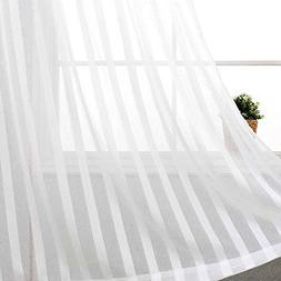 jinchan Striped White Sheer Curtains for Bedroom 63 inches L
