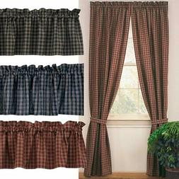 Sturbridge Plaid Lined Curtain Panels Country Wine, Black, N