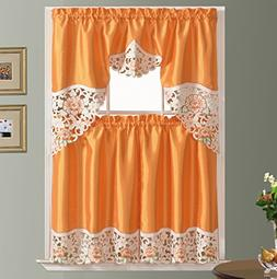 GOHD Summer Passion Kitchen Curtain Set/Swag Valance & Tier