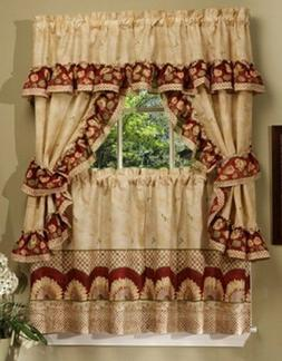 Sunflower Cottage Valance and Tier Set - Size: 57 W x 24 D