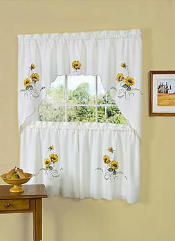 "Sunflower Embroidered Kitchen Curtain 36"" Tier Pair & 30"" Sw"
