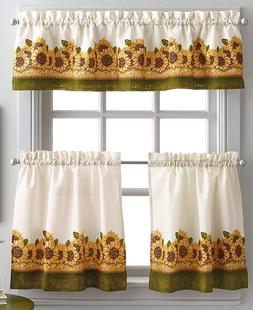 Curtainworks Sunflower Garden 36 in. Curtain Tier Set