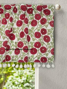 Sunflower Hand Print Cotton Kitchen Curtains Valances Decor