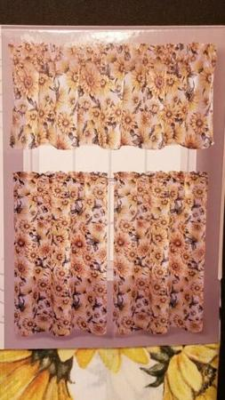 Sunflower Kitchen Curtains -Set Includes 1 Valance and 2 Tie