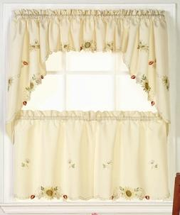 Sunflowers Embroidered Kitchen Curtains - Brand NEW!