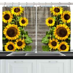 Sunflowers On Wooden Board Kitchen Curtains Window Drapes 2