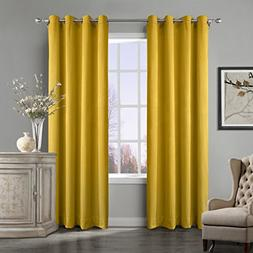 COFTY Super Soft Matt Luxury Velvet Curtain Drape Yellow 50W