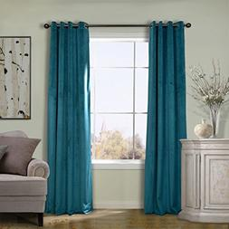 COFTY Super Soft Solid Matt Velvet Curtain Drapes Everglade