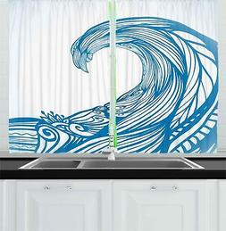 "Surf Kitchen Curtains 2 Panel Set Window Drapes 55"" X 39"" Am"