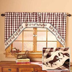 Swag-Style Country Gingham Western Cowboy Horse Kitchen Wind