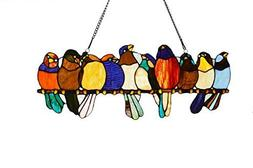 10 Inch Tall Leaded Stained Glass Birds On Wire Window Panel