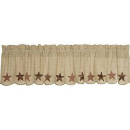 Tan Classic Country Kitchen Curtains Country Star Valance Ro