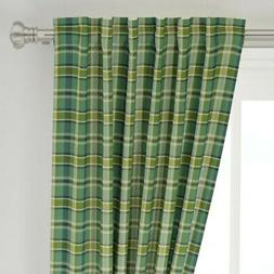 "Tartan Plaid Buffalo Check Scottish Kitchen 50"" Wide Curtain"