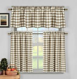 Taupe Beige Gingham Checkered Plaid Kitchen Tier Curtain Val