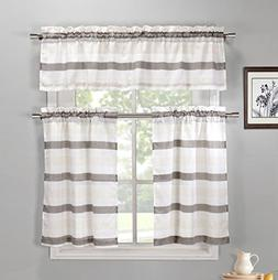 Taupe, Ivory and Beige 3 Piece Kitchen Window Curtain Set: N