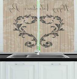"Taupe Kitchen Curtains 2 Panel Set Window Drapes 55"" X 39"" A"