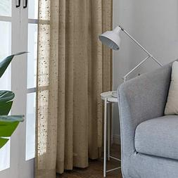 Taupe Sheer Curtains for Living Room Linen Textured 63 inch