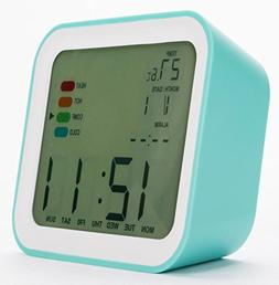 Cirbic Teal Alarm Clock with Timer, Thermometer, Weekday