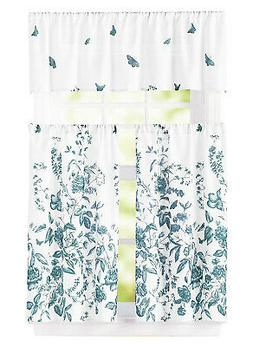 Teal Blue and White 3 pc Window Curtain Set Floral Design 1