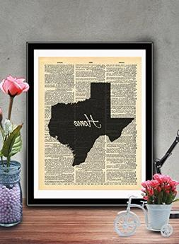 Texas State Vintage Map Vintage Dictionary Print 8x10 inch H