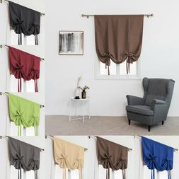 Thermal Drapes Blacknot Roman Curtains Tie Up Shades Rod Pocket for Small Window