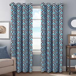 H.Versailtex Thermal Insulated Blackout Curtains, Blue Geome