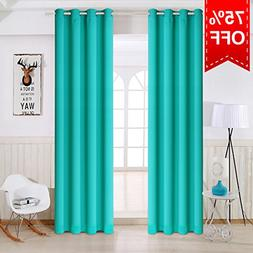TEKAMON Thermal Insulated Blackout Grommet Curtains for Livi