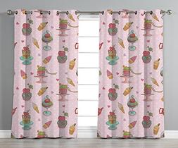 Thermal Insulated Blackout Grommet Window Curtains,Ice Cream