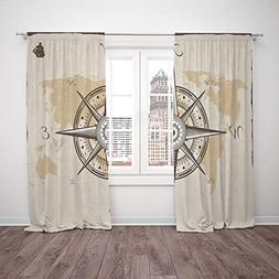 Thermal Insulated Blackout Window Curtain,Compass Decor,Naut