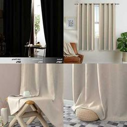 thermal insulated faux linen room darkening curtains