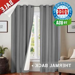 jinchan Thermal Lined Room Darkening Curtains, Grey Light Re