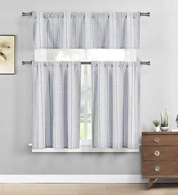 Three Piece Cotton Rich Kitchen/Cafe Tier Window Curtain Set