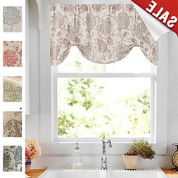 "jinchan Floral Printed Tie-up Valance 1 pc 20"" Taupe"