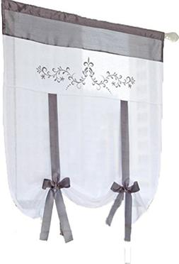 HomeyHo Tie Up Curtains For Kitchen Windows Rod Pocket Curta