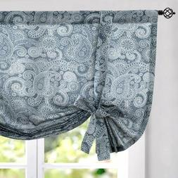Curtains Linen Tie Up Valance for Kitchen Textured Paisley F