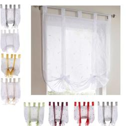 Tie-Up Roman Curtains- Tap Top Embroidery Sheer Voile Kitche