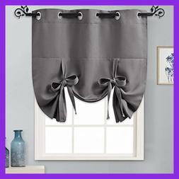 Tie Up Shades SMALL Kitchen Curtains & Valance Set Blackout