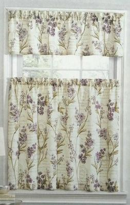 Ellery Homestyles Tier and Valance Curtain Set Scripted Flor