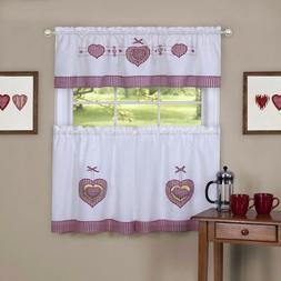 Tier and Valance Gingham Hearts Window Curtain Set red / whi