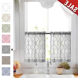 Tier Curtain Set Moroccan Trellis Pattern 2 Pieces Embroider