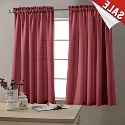 Tier Curtains for Kitchen 45-inch Small Privacy Semi Sheer T