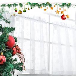 Tier Curtains for Kitchen 45 Inch Length Transparent Snow Vo