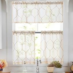 Tier Curtains Beige Embroidered Set with Valance Moroccan Tr