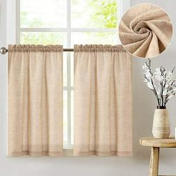 jinchan Tier Curtains Linen Textured 24 Inches Long Curtains